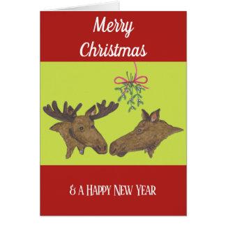 Christmas card  Moose Couple and Mistletoe