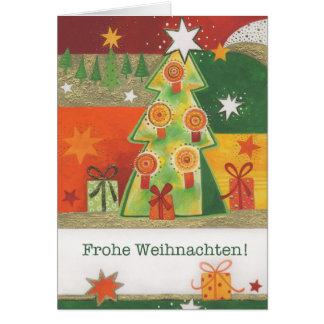 Christmas card multicolored fir tree with candles