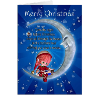 Christmas card, night before Christmas with elf an Card