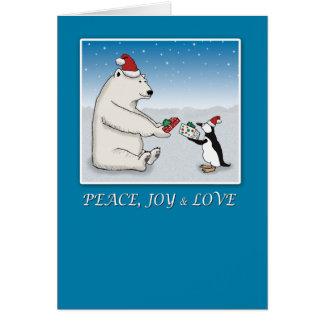 Christmas card Polar bear and penguin