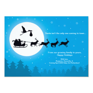"Christmas Card Pregnancy 4x6 Announcement - Coming 4.5"" X 6.25"" Invitation Card"