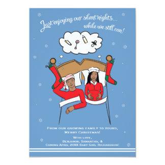 "Christmas Card Pregnancy Announcement- African Am 5"" X 7"" Invitation Card"
