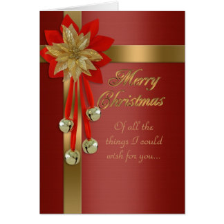 Christmas card red and gold bells