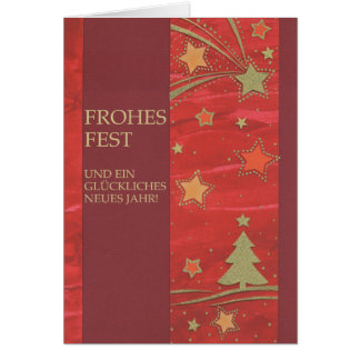 Christmas card red with golden fir tree