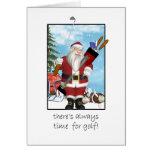Christmas Card, Santa Playing Golf