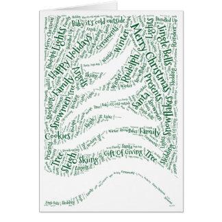 Christmas card shaped word cloud tree