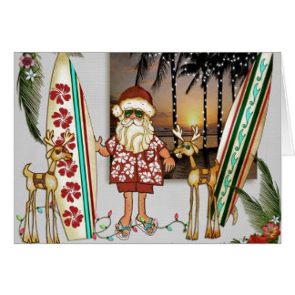 Christmas Card Tropical Santa