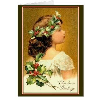 Christmas Card Vintage Young Girl