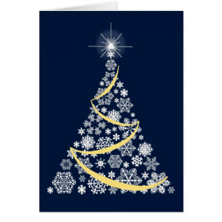 Christmas card with a white snowflake tree