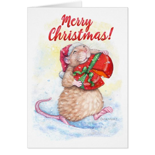 Christmas Card with Cute Rat