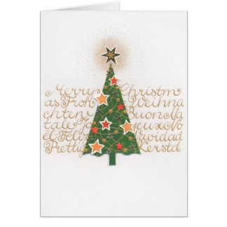 Christmas card with fir tree multilingual text