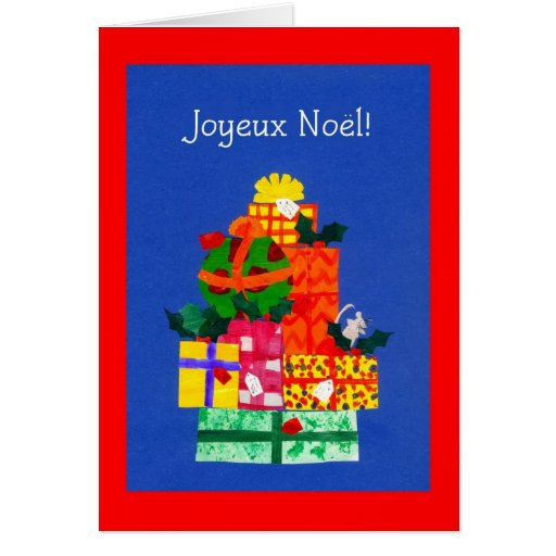 Christmas Card with Gifts - French Greeting