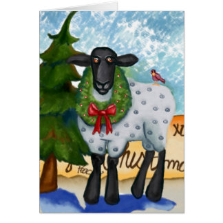 Christmas Card with Goat and Wreath