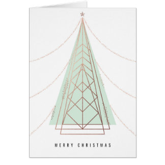 Christmas Card with Modern Geometric Tree in Mint