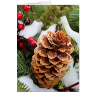 Christmas Card with Pinecone and snow