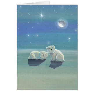 Christmas Card with Polar Bear Cubs