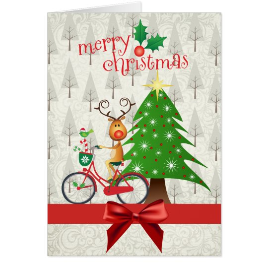 Christmas Card with Reindeer on Bicycle