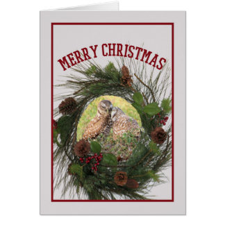 Christmas Card with Two Loving Burrowing Owls