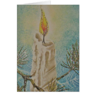 Christmas Card, with vintage candle. Card