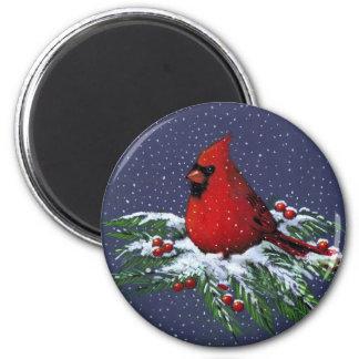 CHRISTMAS: CARDINAL: BIRD: ART MAGNET