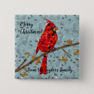 Christmas Cardinal bird collage 2 Inch Square Button