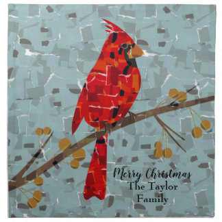 Christmas Cardinal bird collage Napkin