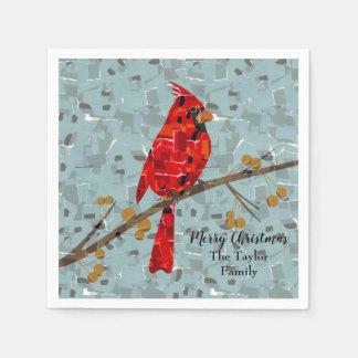 Christmas Cardinal bird collage Paper Napkins