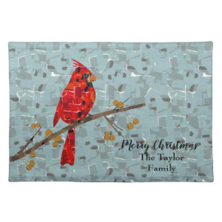 Christmas Cardinal bird collage Placemat