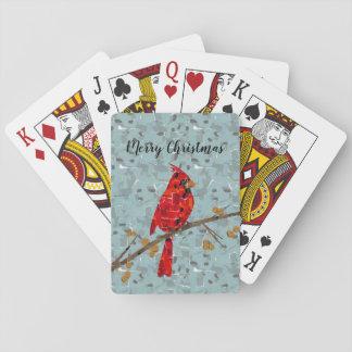 Christmas Cardinal bird collage Playing Cards