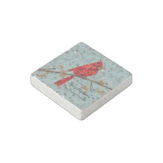 Christmas Cardinal bird collage Stone Magnets