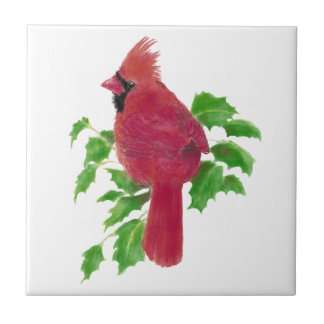 Christmas Cardinal Bird Nature Wildlife,Watercolor Tile