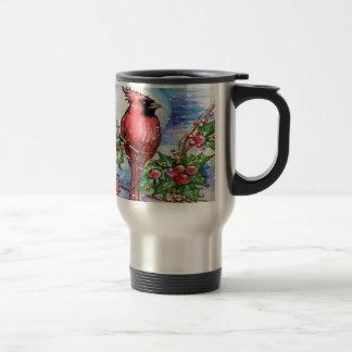 Christmas Cardinal Design Travel Mug