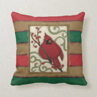 Christmas Cardinal Monogram Throw Pillow