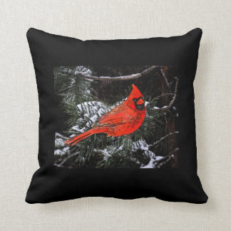 Christmas Cardinal Reversible (Black) Throw Pillow