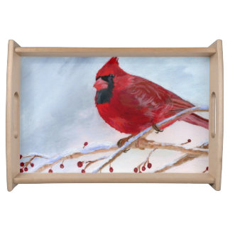 Christmas Cardinal Serving Tray