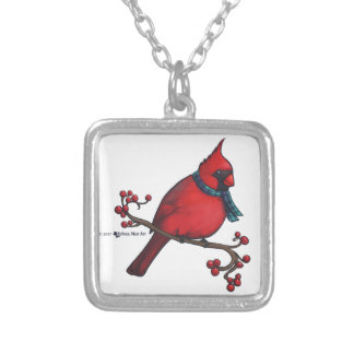 Christmas Cardinal Silver Plated Necklace