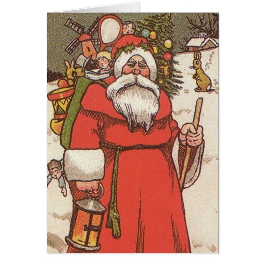 CHRISTMAS CARDS - 1800s SANTA CLAUSE & TOYS