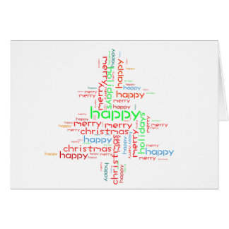 Christmas cards shaped word cloud