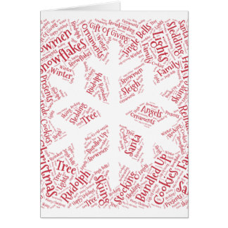 Christmas cards shaped word cloud snowflake