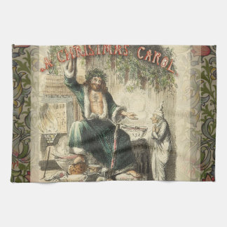 Christmas Carol Scrooge Ghost Present Artwork Kitchen Towel