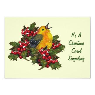 "Christmas Carol Singalong: Bird, Holly, Berries 5"" X 7"" Invitation Card"