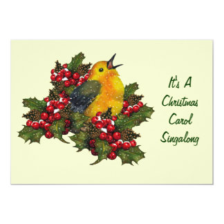 Christmas Carol Singalong: Bird, Holly, Berries Card