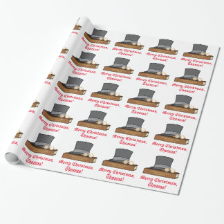 Christmas Carol Top Hat Red Band Customizable Wrapping Paper