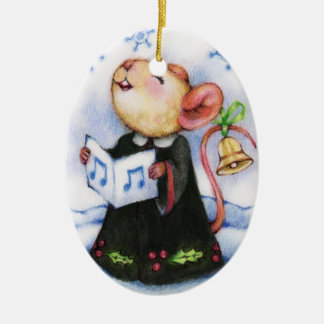Christmas Caroling Mouse Cute Holiday Ornament