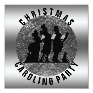 Christmas Caroling Party Elegant Silver Black Card