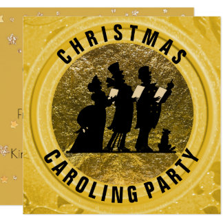 Christmas Caroling Party Gold Victorian Theme Card