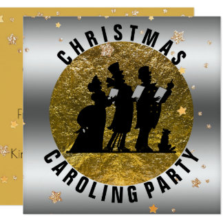 Christmas Caroling Party Silver Gold Stars Card