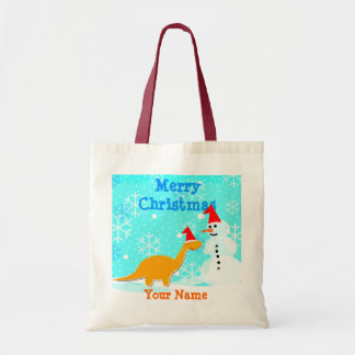 Christmas Cartoon Dinosaur Snowman Bag/ Tote
