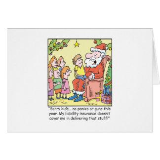 Christmas Cartoon Insurance for Santa Claus Cards