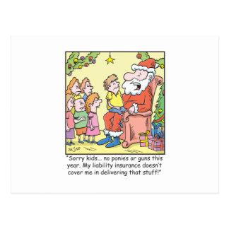 Christmas Cartoon Insurance for Santa Claus Postcard